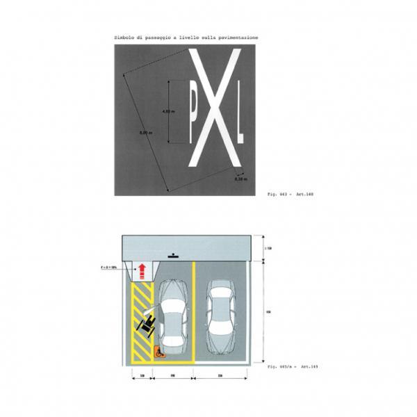 Simbolo di passaggio a livello/ delimitazione degli stalli di sosta riservata agli invalidi