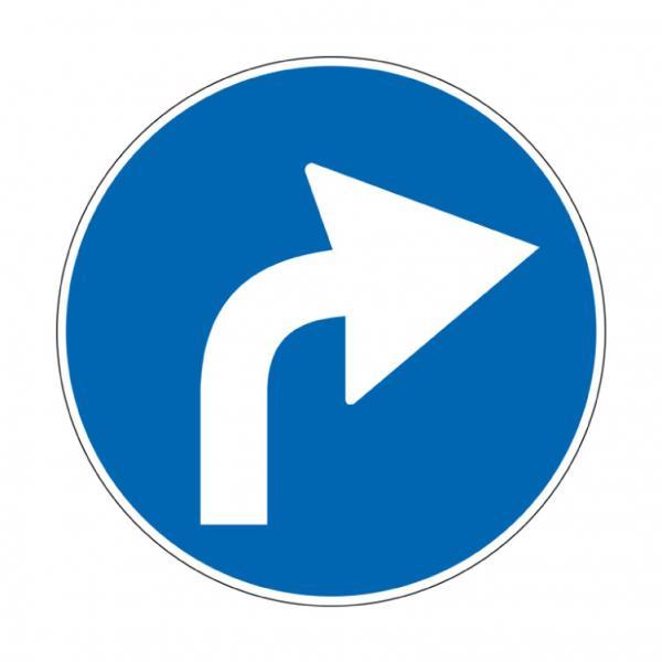 Preavviso di direzione obbligatoria a destra