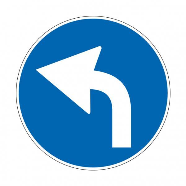 Preavviso di direzione obbligatoria a sinistra