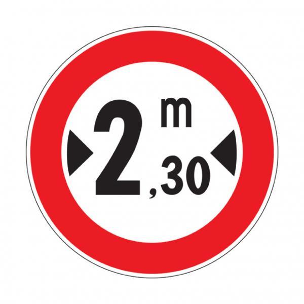 Transito vietato ai veicoli aventi larghezza superiore a ... metri